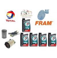 Kit tagliando olio TOTAL 5W30 5 LT + 3 FILTRI VW GOLF V 5 1.6 Berlina 3P MOT BGU
